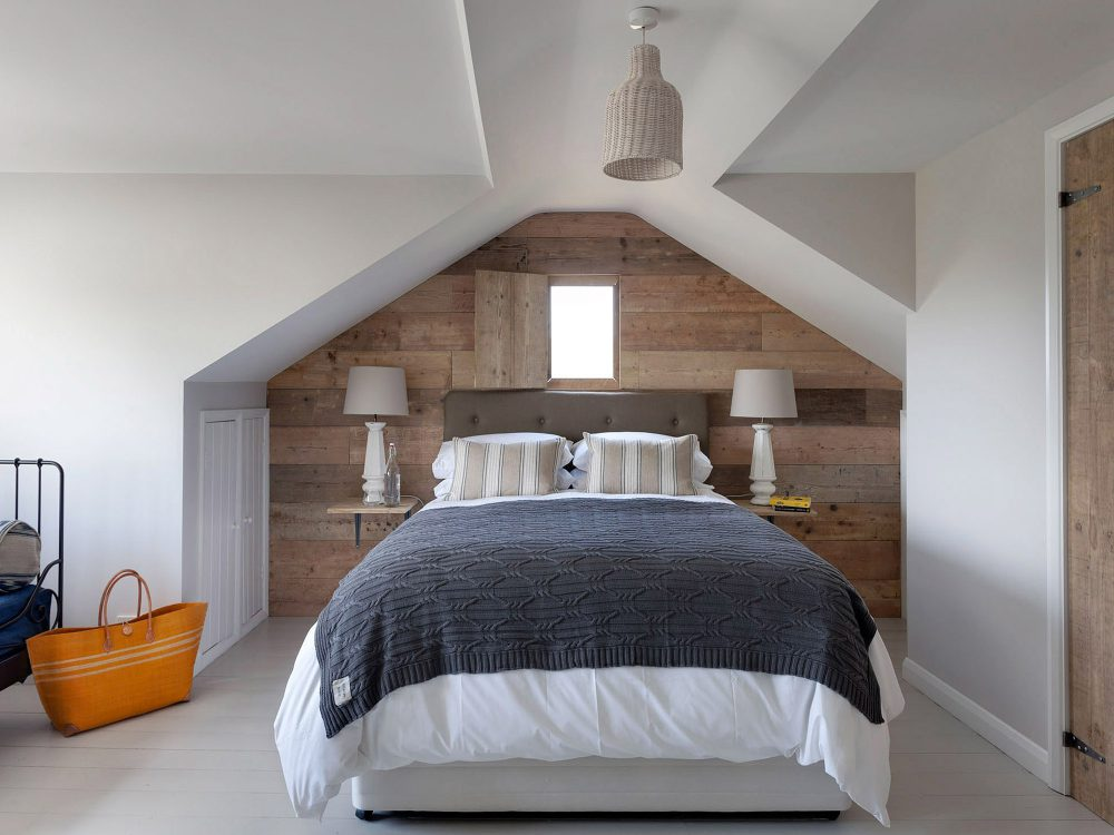 The bedroom at Field View beach house. Interior design & styling by Rowan Plowden Design.