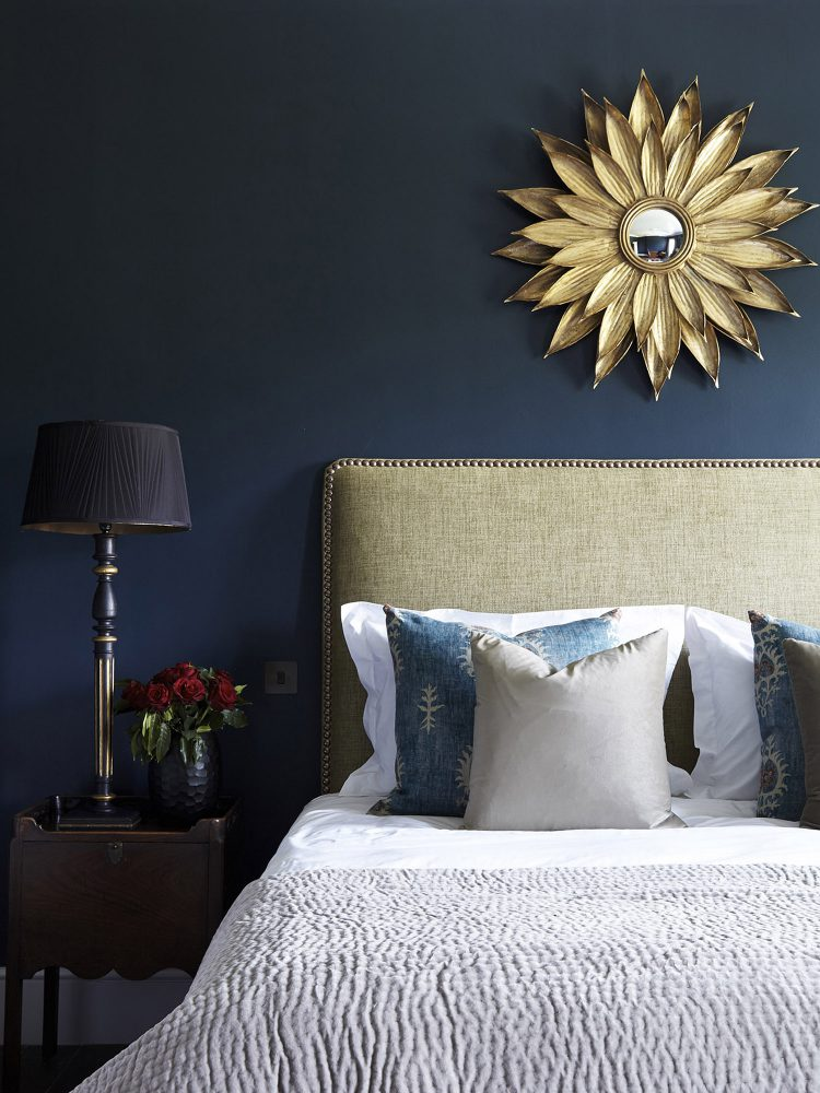 The blue bedroom at Goodnestone Park. Interior design & styling by Rowan Plowden Design.