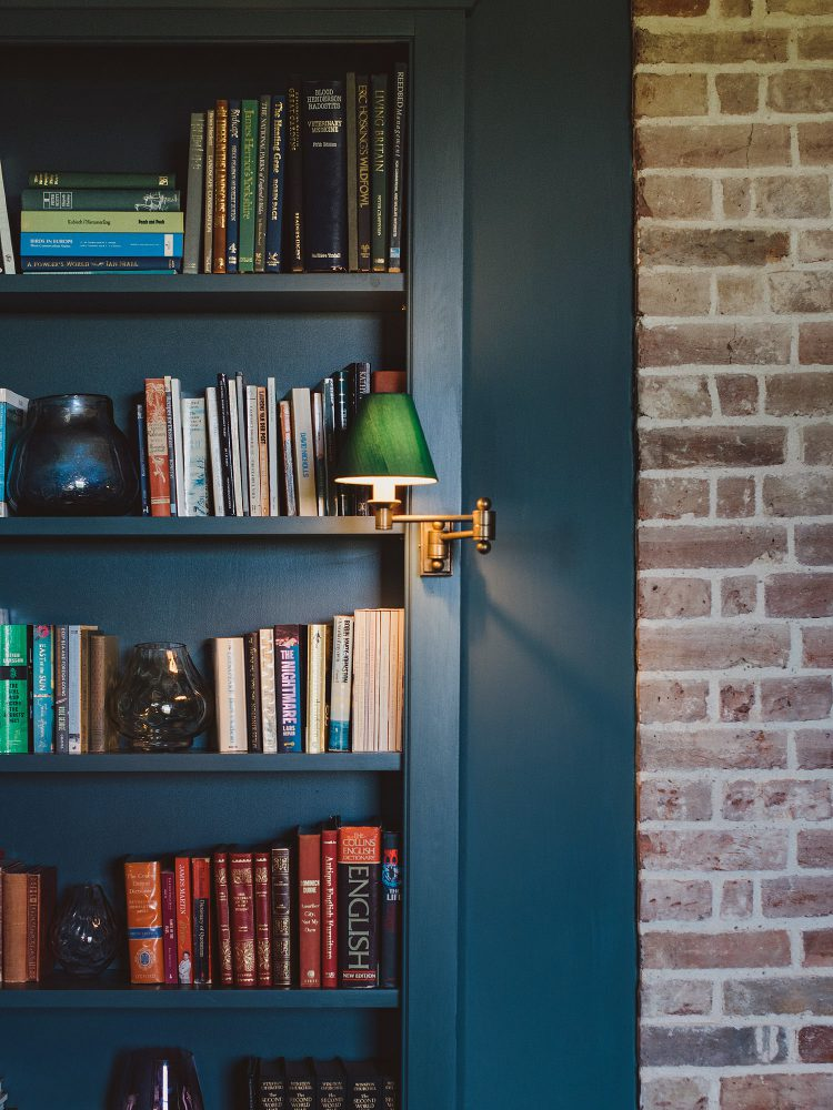 Blue book shelf at Kingshill farmhouse on the Elmley Nature Reserve. Interior design & styling by Rowan Plowden Design.