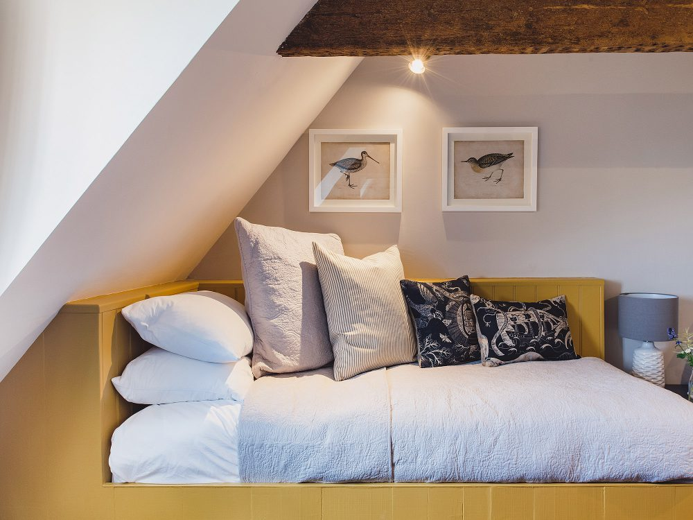 Built in bed at Kingshill farmhouse on the Elmley Nature Reserve. Interior design & styling by Rowan Plowden Design.