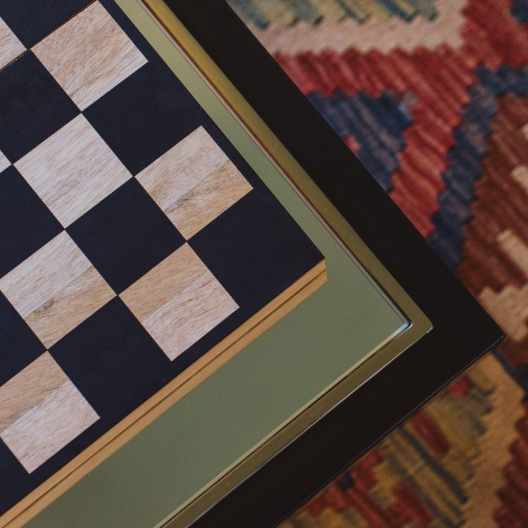 Chess board at Kingshill farmhouse on the Elmley Nature Reserve. Interior design & styling by Rowan Plowden Design.