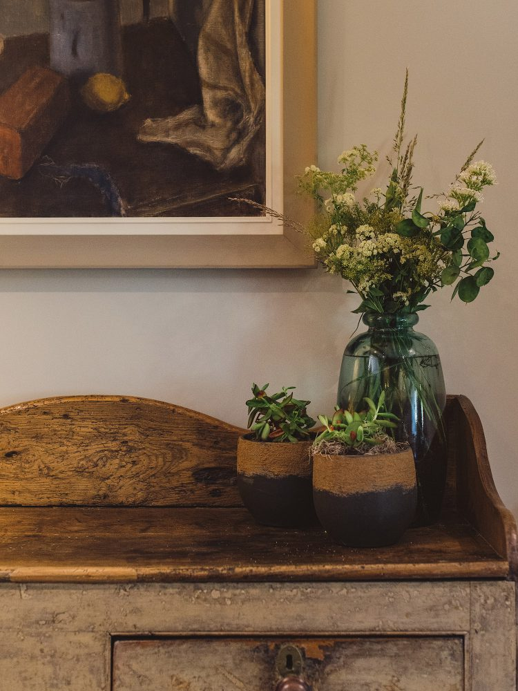 Oak sideboard at Kingshill farmhouse on the Elmley Nature Reserve. Interior design & styling by Rowan Plowden Design.