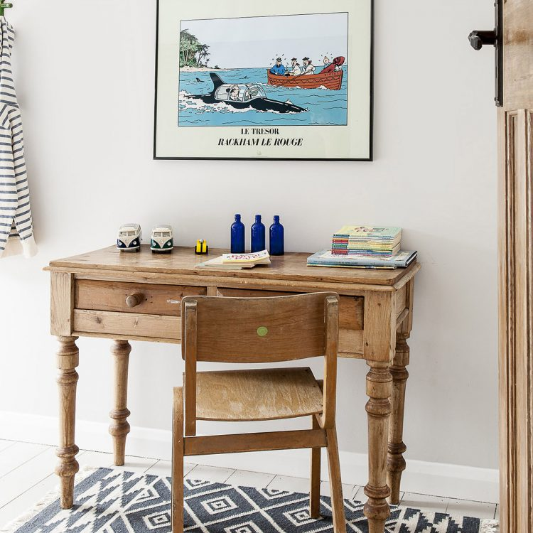 The child's desk at Field View beach house. Interior design & styling by Rowan Plowden Design.