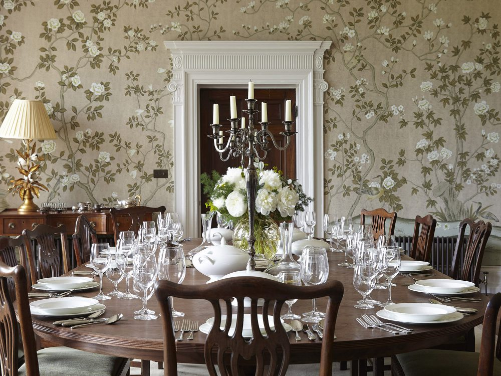 The dining room at Goodnestone Park. Interior design & styling by Rowan Plowden Design.
