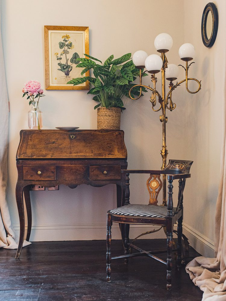 Elegant writing desk at Kingshill farmhouse on the Elmley Nature Reserve. Interior design & styling by Rowan Plowden Design.