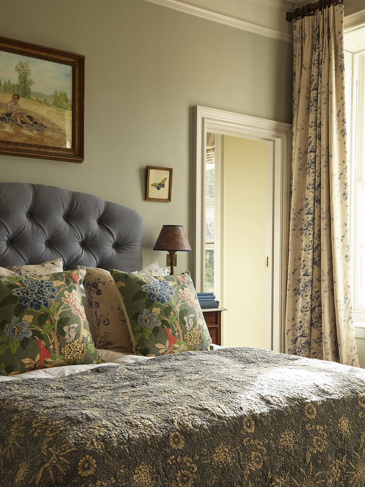 The green bedroom at Goodnestone Park. Interior design & styling by Rowan Plowden Design.