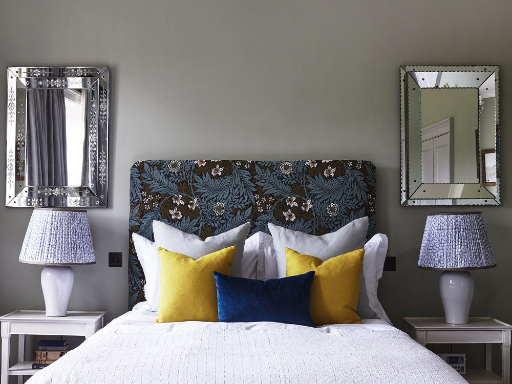 The grey bedroom at Goodnestone Park. Interior design & styling by Rowan Plowden Design.