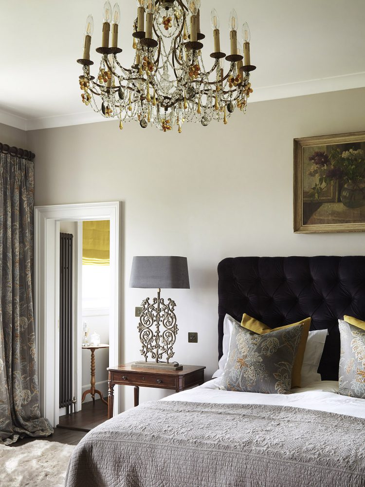 The guest bedroom at Goodnestone Park. Interior design & styling by Rowan Plowden Design.