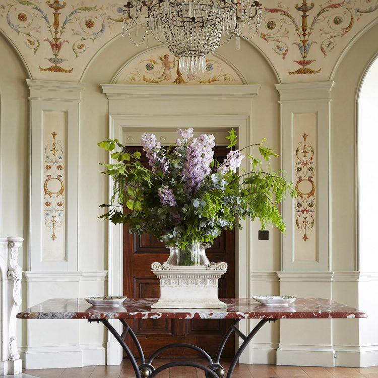 The entrance hall at Goodnestone Park. Interior design & styling by Rowan Plowden Design.