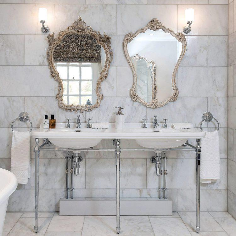 His & hers vanity sinks at Battel Hall. Interior design & styling by Rowan Plowden Design.