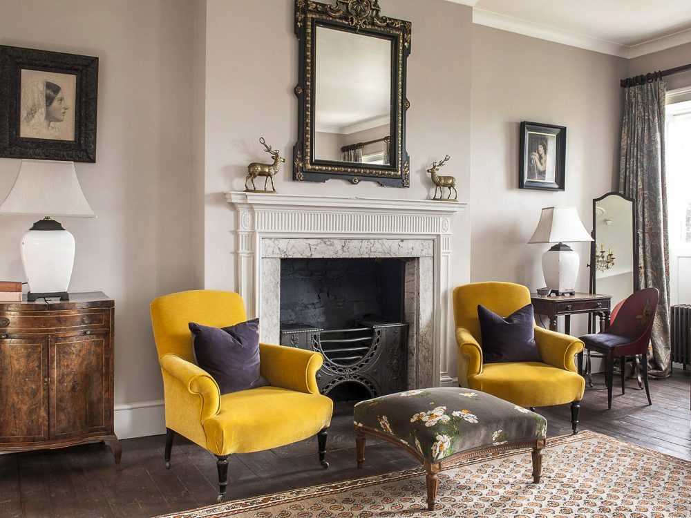 The drawing room at Goodnestone Park. Interior design & styling by Rowan Plowden Design.
