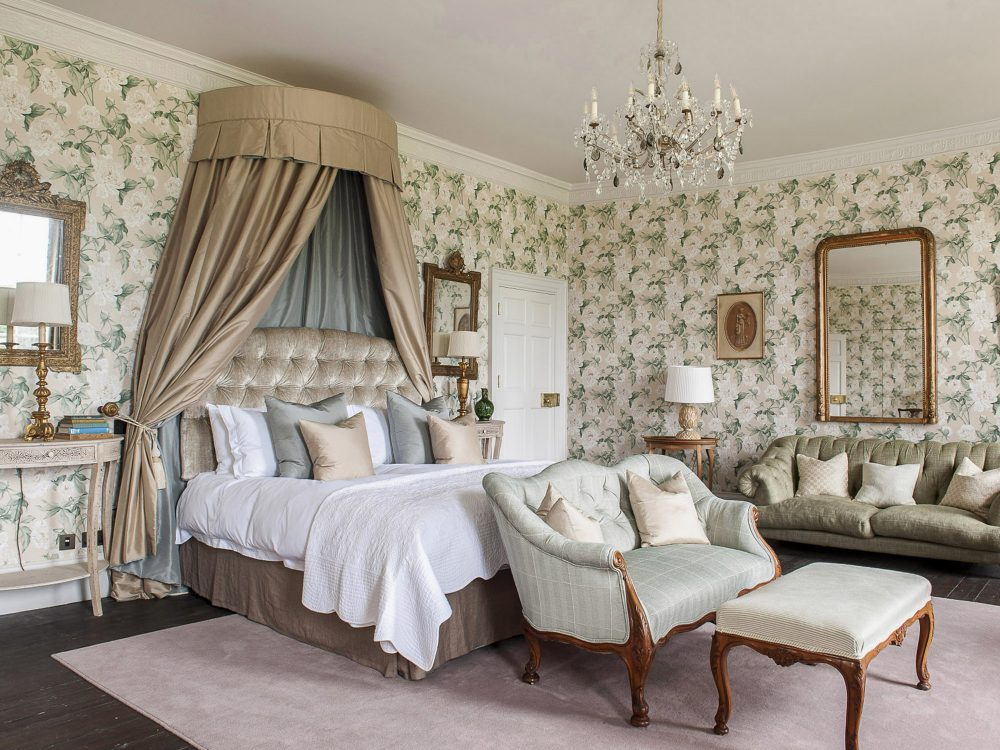 The master bedroom at Goodnestone Park. Interior design & styling by Rowan Plowden Design.