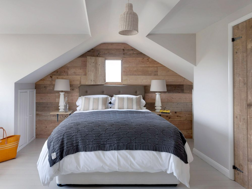 The master bedroom at Field View beach house. Interior design & styling by Rowan Plowden Design.