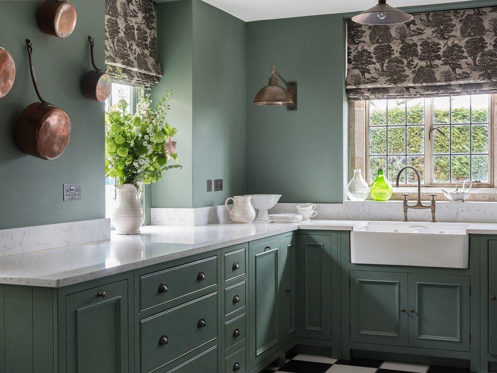 The green kitchen at Battel Hall. Interior design & styling by Rowan Plowden Design.