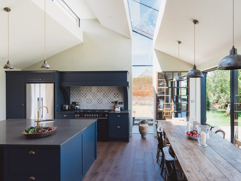 The modern kitchen at Kingshill farmhouse on the Elmley Nature Reserve. Interior design & styling by Rowan Plowden Design.