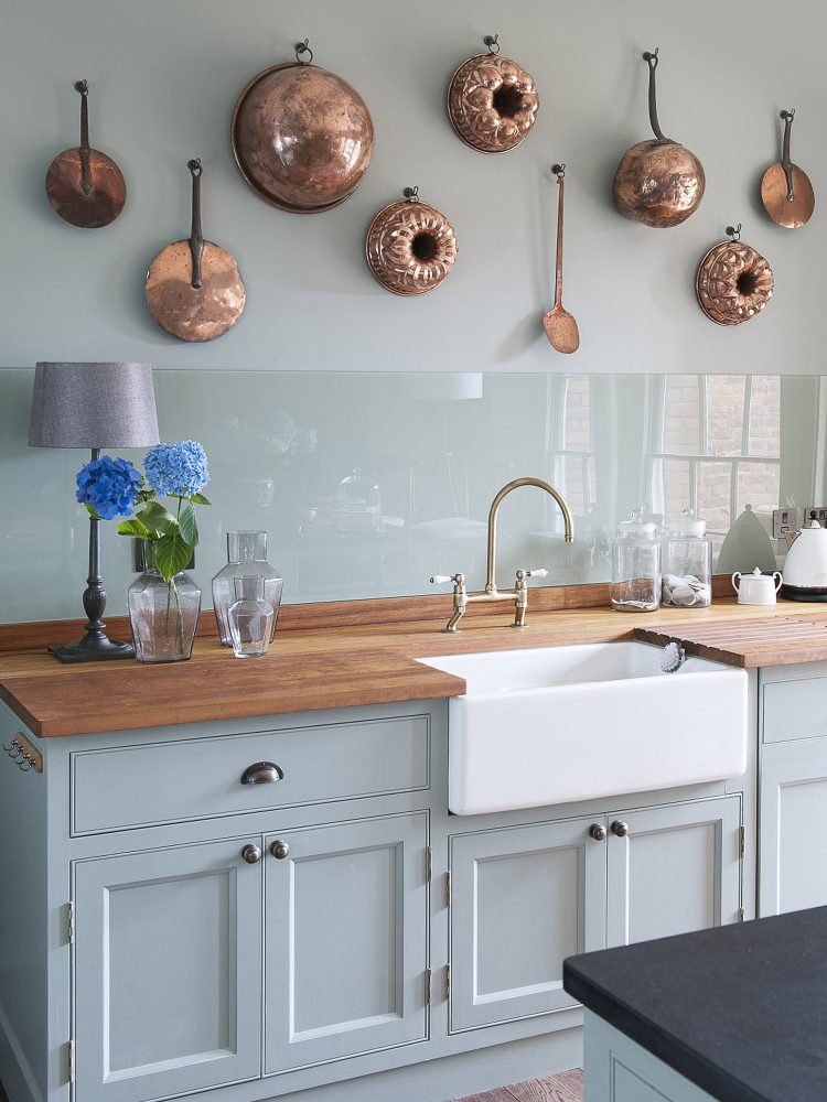 The belfast kitchen sink at Goodnestone Park. Interior design & styling by Rowan Plowden Design.