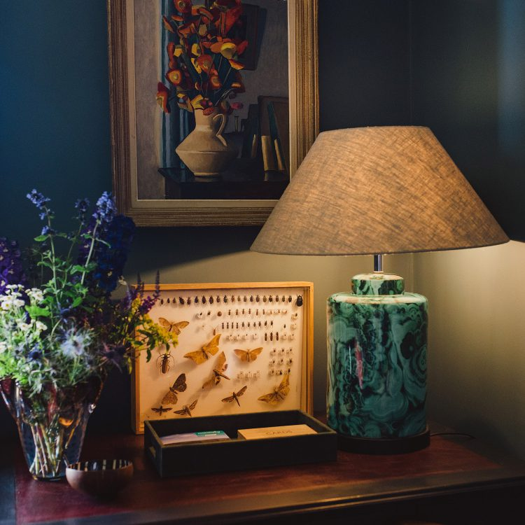 Table lamp at Kingshill farmhouse on the Elmley Nature Reserve. Interior design & styling by Rowan Plowden Design.