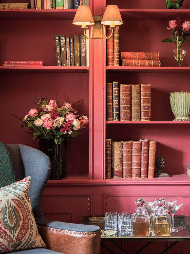 The library at Battel Hall. Interior design & styling by Rowan Plowden Design.