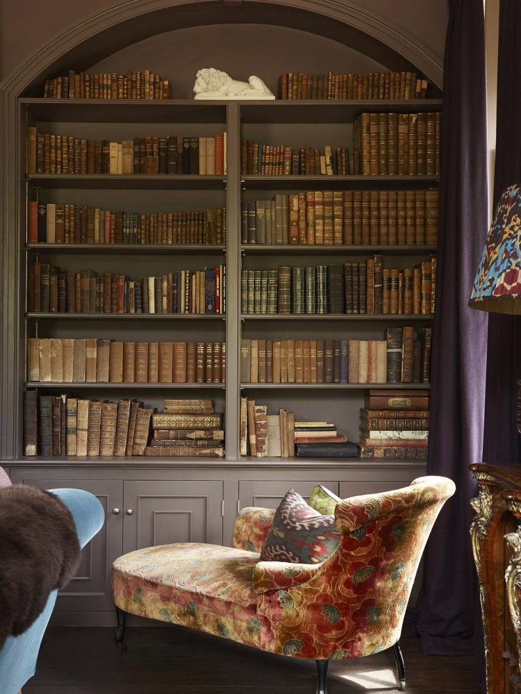 The library at Goodnestone Park. Interior design & styling by Rowan Plowden Design.