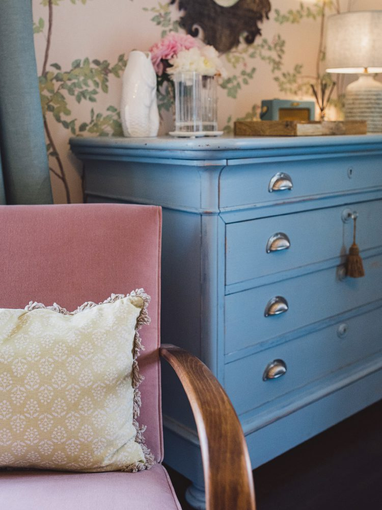 Hand-painted chest of drawers at Kingshill farmhouse on the Elmley Nature Reserve. Interior design & styling by Rowan Plowden Design.