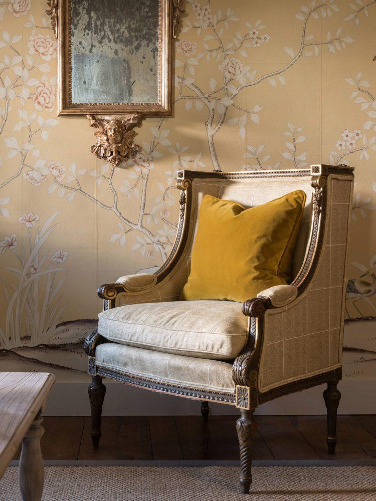 Period chair at Battel Hall. Interior design & styling by Rowan Plowden Design.