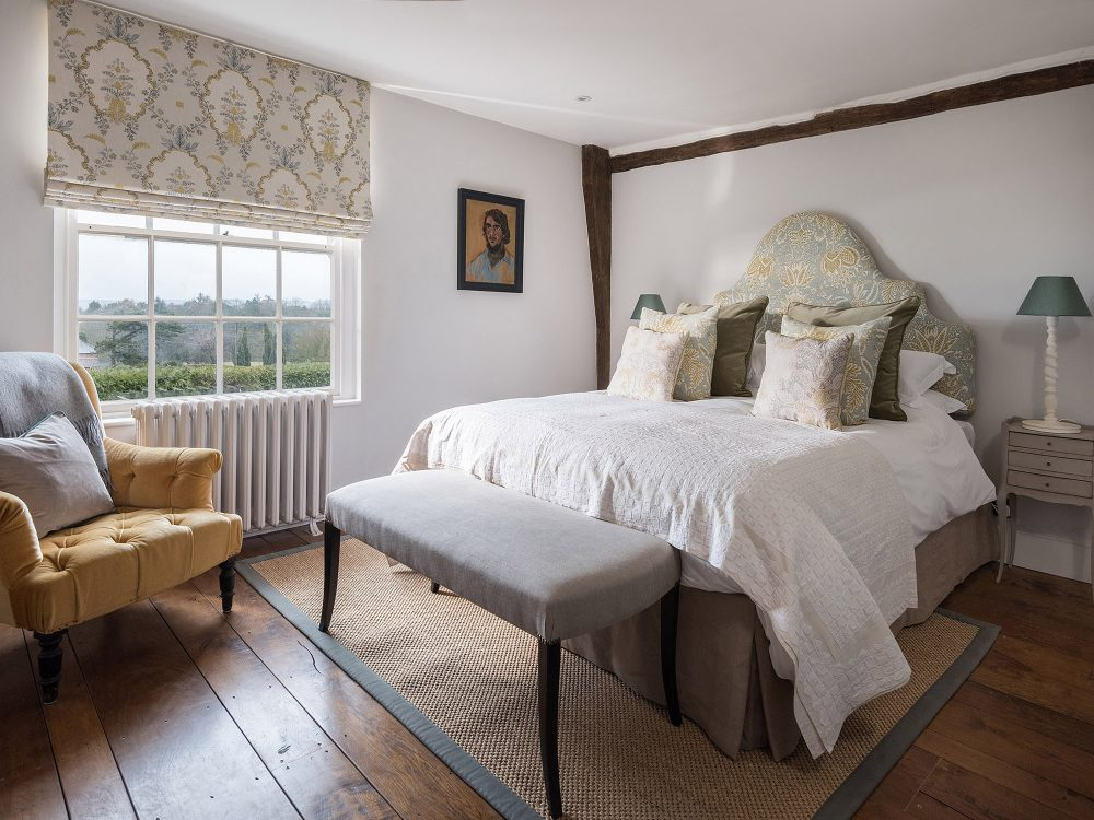 The white bedroom at Battel Hall. Interior design & styling by Rowan Plowden Design.