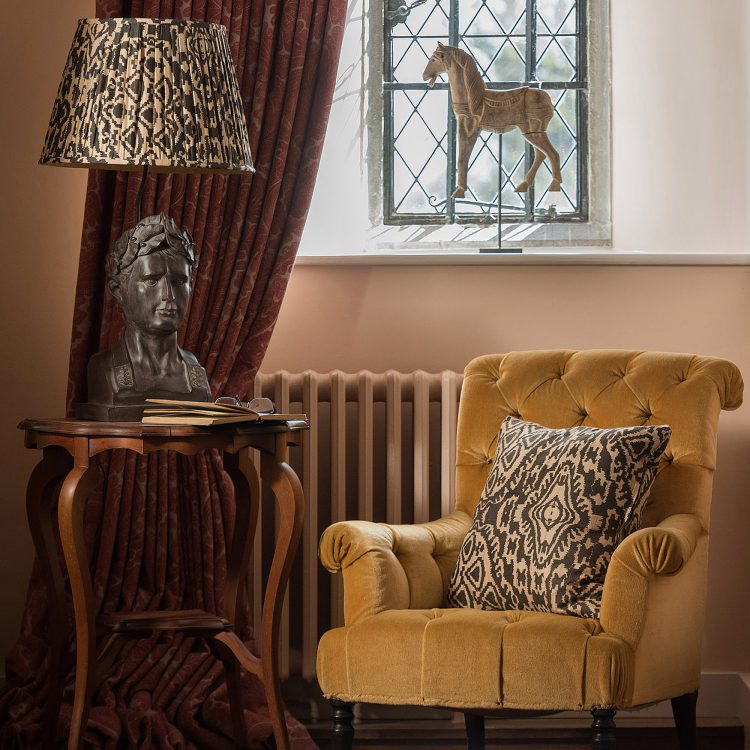 Yellow window chair at Battel Hall. Interior design & styling by Rowan Plowden Design.