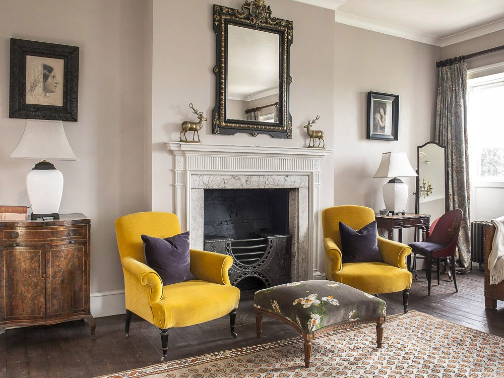Elegant yellow chairs at Goodnestone Park. Interior design & styling by Rowan Plowden Design.