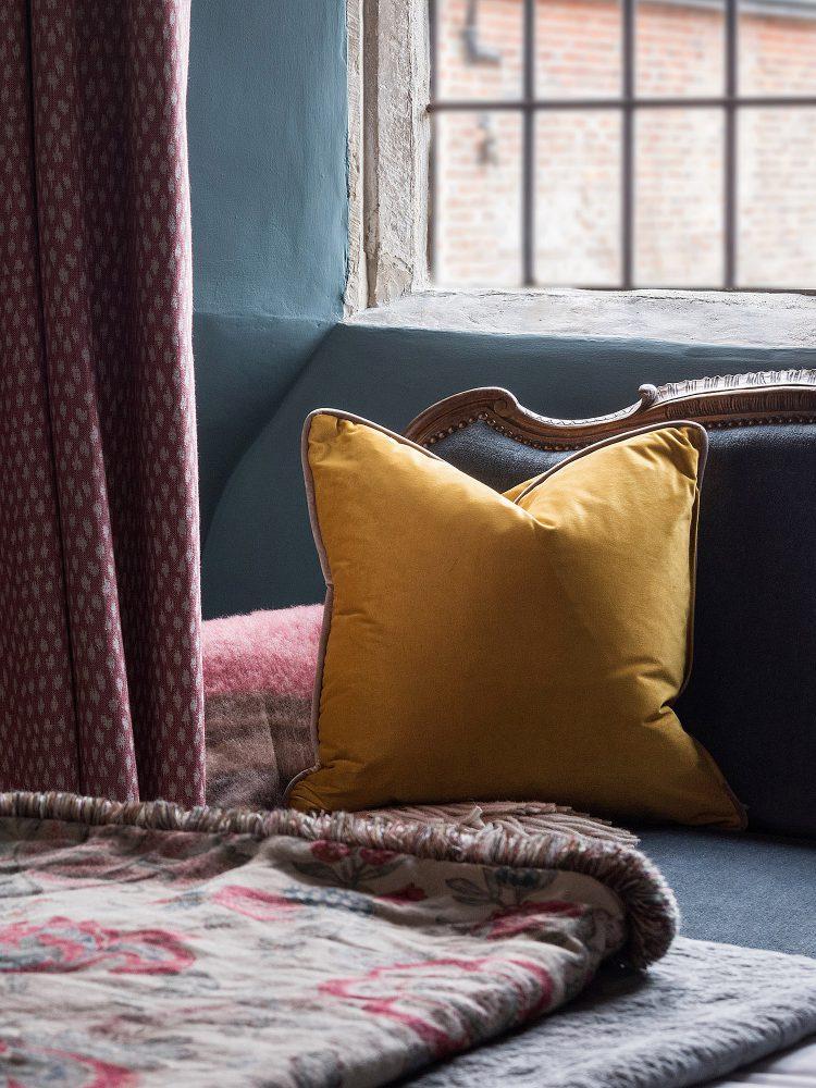 Mustard scatter cushion at Battel Hall. Interior design & styling by Rowan Plowden Design.